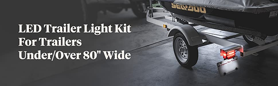 "LED Trailer Light Kit For Trailers Under/Over 80"" Wide on Seadoo Trailer."