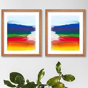 rainbow watercolor print blue green yellow red purple orange poster wall decoration gay pride art