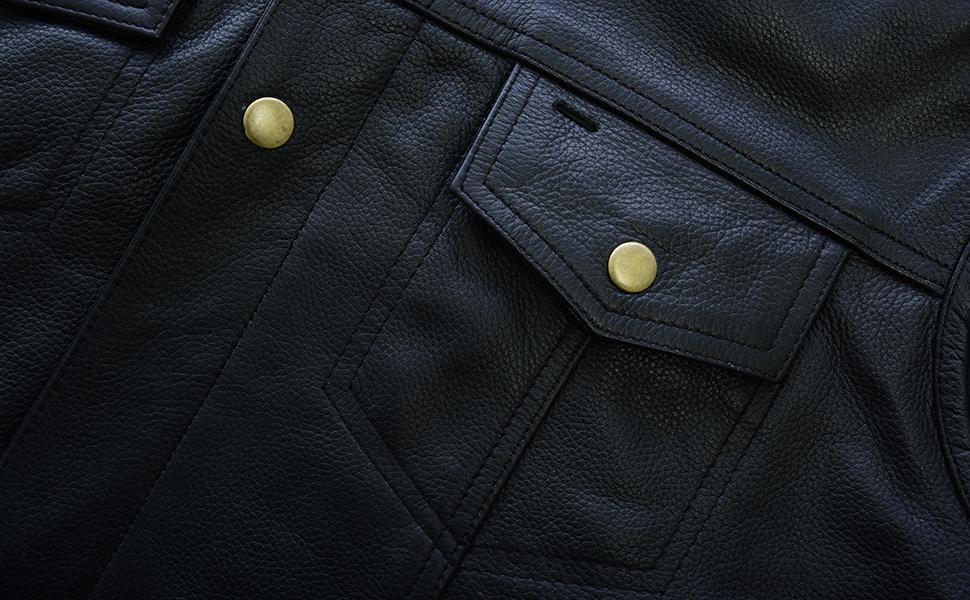 Leatherick Mens Sons of Anarchy Collarless Genuine Leather Biker Vest Black S - EUR46