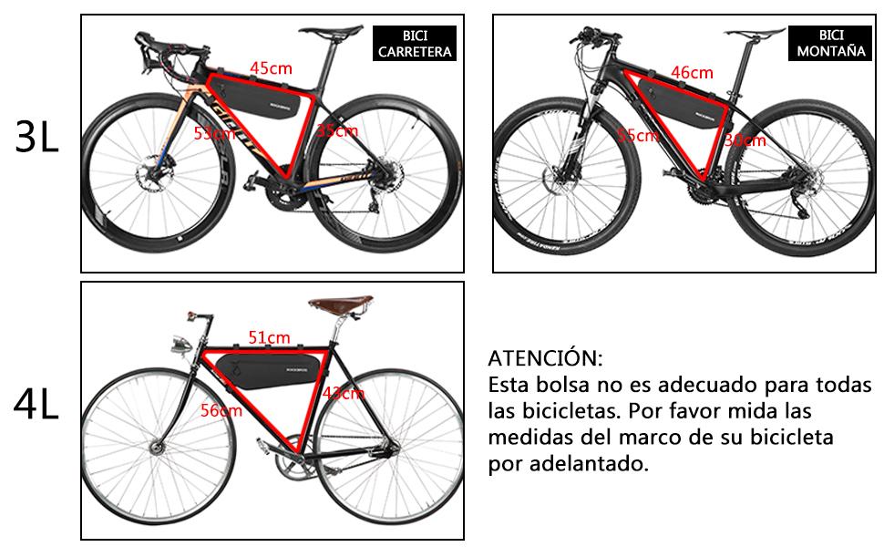 ROCKBROS Bolsa Triangular para Cuadro de Bicicleta Impermeable Ajustable Frontal de Tubo para Ciclismo con Gran Capacidad para Bicis MTB Bici de Carretera: Amazon.es: Deportes y aire libre