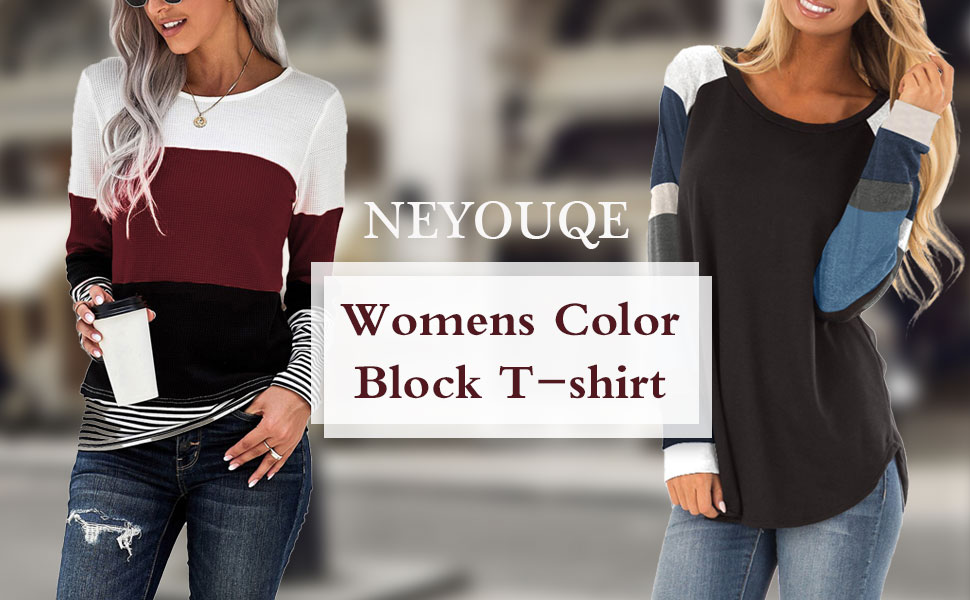 NEYOUQE Womens Loose Color Block Tunics Long Sleeve T Shirts Casual comfy Tops