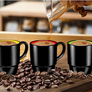 orcelain Stackable Mug Set - 16 Ounce for Coffee, Tea, Cocoa and Mulled Drinks mugs coffee cups