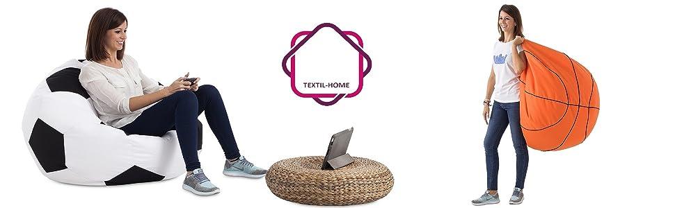 Textilhome - Balón PUF de Futbol Pelota de Puff, 90cm Diametro. Divertido, Resistente, Doble repunte.: Amazon.es: Juguetes y juegos