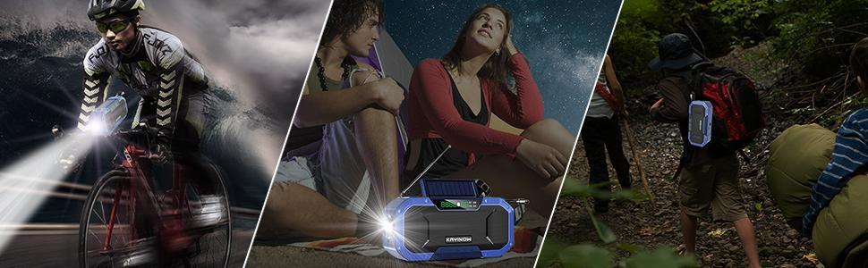 ポータブル防災手回し充電ラジオ 小型携帯式電池式ポケットバッテリー防水 ワイヤレス bluetooth スーカー ブルートゥース 多機能 ソーラー