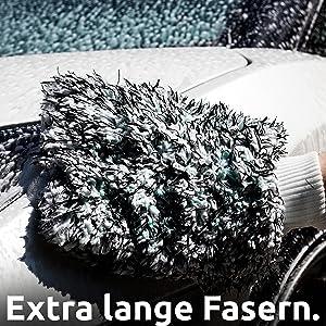 Cleaneed Premium Waschhandschuh Besonders Lackschonend Dank Extra Weicher Mikrofaser Rückstandsfrei Extra Saugstark Für Auto Felgen Und Motorrad Autoschwamm Auto