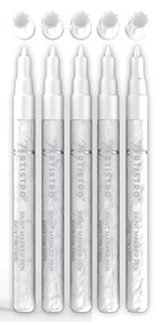 White Paint pens for Rock Painting, Stone, Ceramic, Glass, Wood. Set of 5 Acrylic Paint Markers Whit