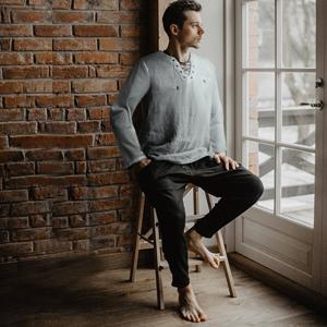 mens linen cotton shirt yoga top
