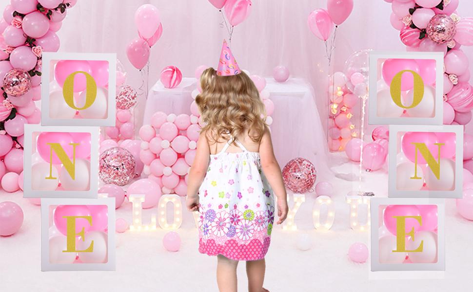 Amazon Com Decoraciones De 1er Cumpleaños Para Bebés Y Niñas Con Globos De Oro Y Una Letra Con Globos De Color Rosa Blanco Para Jefes Bebé Niñas Primer Cumpleaños Fiesta Foto Sesión Decoración