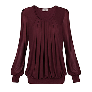 Woman Blouses And Tops,Women'S Work Tops Timeson Ladies Bubble Hem Tops Front Pleat Dressy