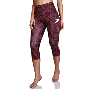 ODODOS Out Pockets Pattern Yoga Capris