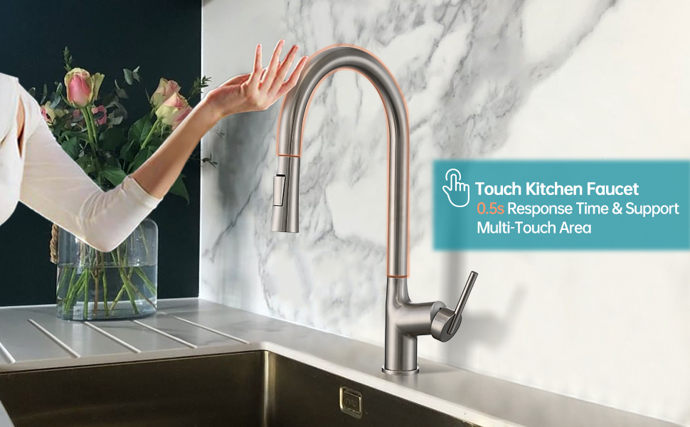 Touch kitchen faucet with two water flow function
