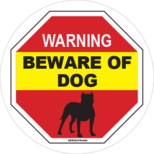 BEWARE OF DOG Sign for Window