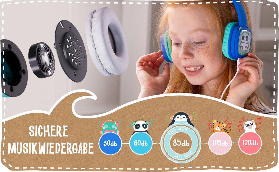 safe audio, headphones, earphones, 85db, 85 decibels, audio limited, volume limited, ear protection