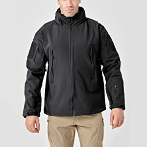 Tactical Concealed Hooded Softshell Fleece Military Jacket Coat