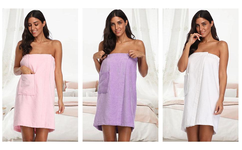 The Bund Womens Spa Towel Wrap,100/% Cotton Shower Bath Body Wrap with Pocket