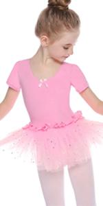 Hawiton Girls Ballet Tutu Cotton Short Sleeve Dancing Gymnastics with Chiffon Skirt Ballet Dress