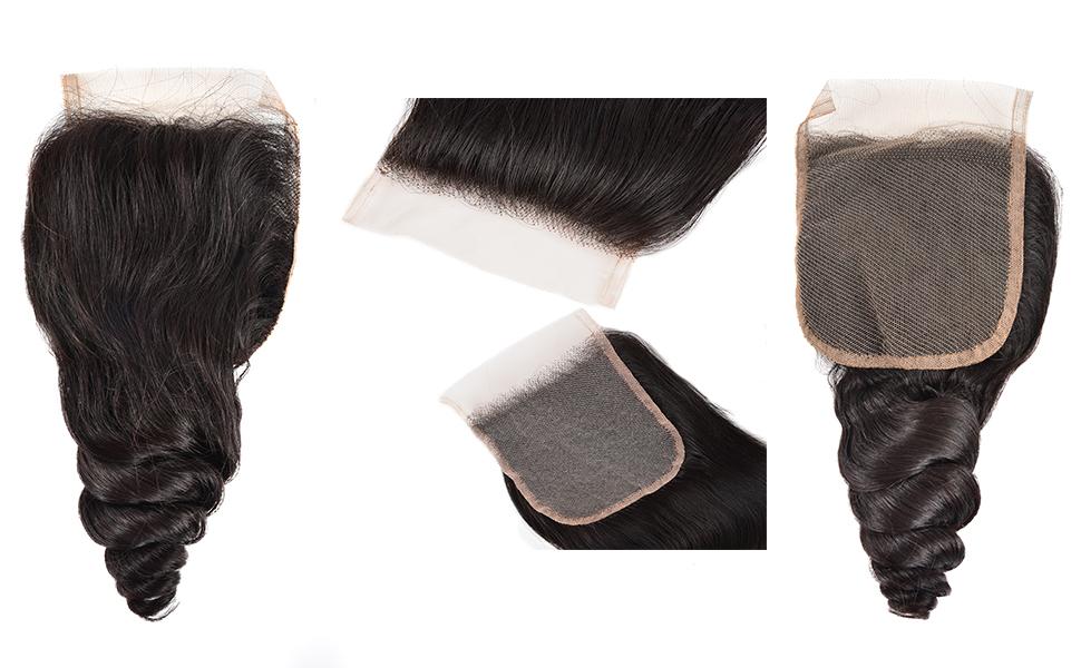 loose curly closure 4 by 4 closure tight loose loose wave unprocessed virgin hair human hair
