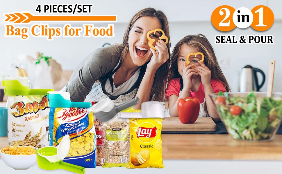 seal pour food storage bag clips, bag clips with spout spout, chip clips bag clips food clips