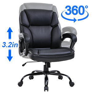Amazon Com Big And Tall Office Chair 400lbs Wide Seat Ergonomic Desk Chair Pu Leather Computer Chair With Lumbar Support Arms Mid Back Executive Task Chair For Heavy People Black Furniture Decor