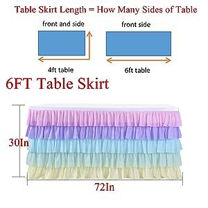 6ft rainbow tutu table skirt for birthday party