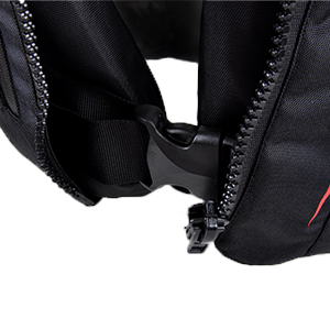 Lower positioned waist buckle for secure fit.