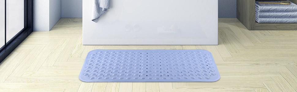 bathtub mat shower tub natural rubber grip skid resistant machine washable latex drain holes safe