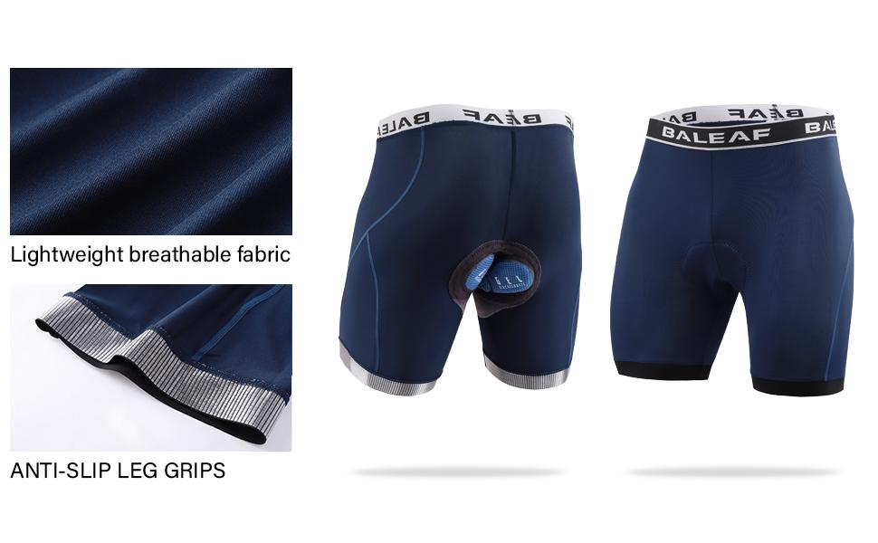 BALEAF Mens Cycling Underwear Bike Shorts 4D Padded Mountain Undershorts Anti-Slip Black Size L