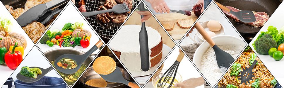 black gray Silicon Whisk, Basting Brush, Spoon, Turner, Pasta Server, Spatula, Soup Ladle tongs