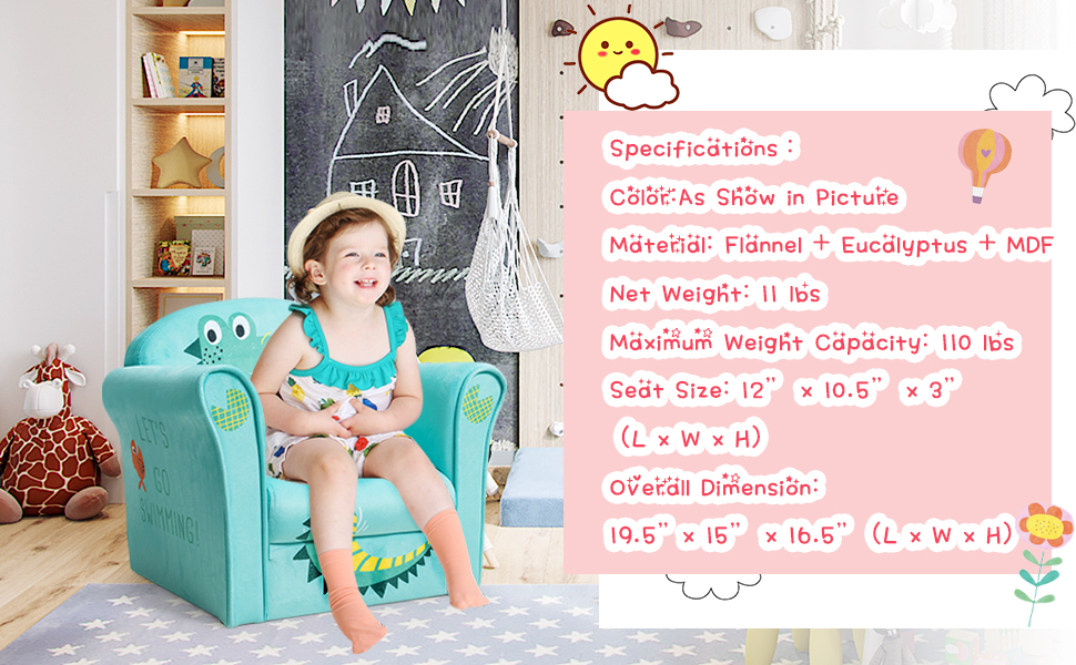 specification of this toddler armrest chair
