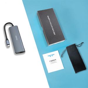 Hub USB C, VUKSRA Tipo C Adaptador 6 en 1 USB C con Chips de Conducción Independientes, Salida 4K HDMI, USB 3.0, PD Carga Rápida de 100 W, Lector de Tarjetas SD/TF