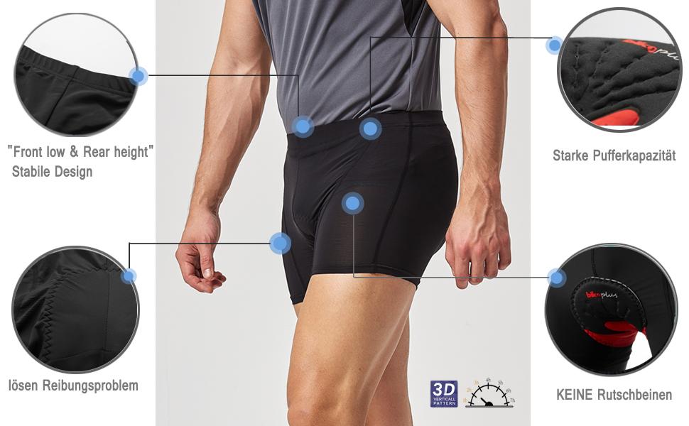 Herren Damen MTB BMX Gel Gepolstert Fahrradhose Shorts Fahrrad Unterhose Radhose