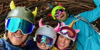 devil horns, unicorn horns, cat ears and banana for helmet