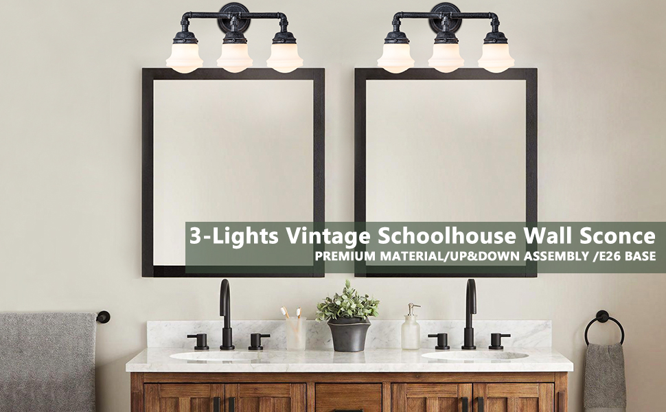 3 lights Vintage schoolhouse wall sconce