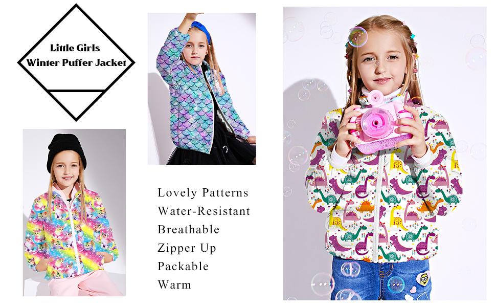 Idgreatim Girls Winter Packable Coats Casual 3D Graphic Zipper Up Puffer Jacket Outerwear 4-12T