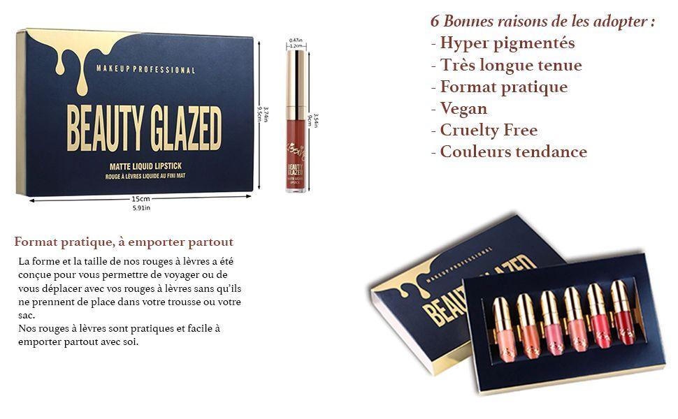 BEAUTY GLAZED 6 Couleur Set Rouge à Lèvres Liquide Mat