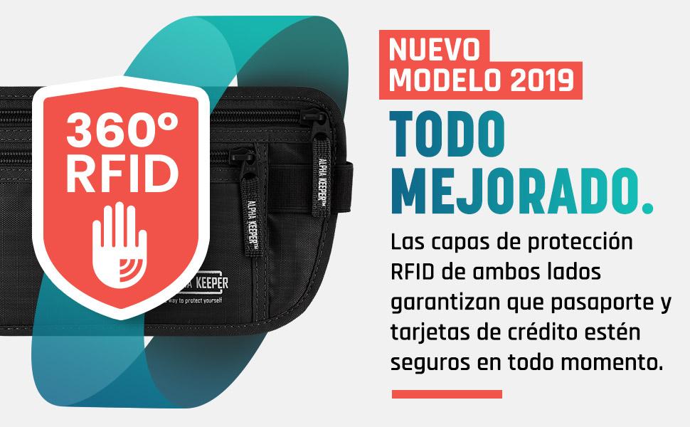 Portadocumentos Viaje Tipo cinturón de Viaje con Bloqueo RFID - Incluye Set de Funda Pasaporte y Tarjetas con Bloqueador RFID para Uso Diario [Nuevo ...