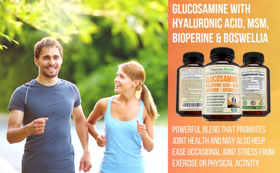 Glucosamine Hyaluronic Acid MSM BioPerine Boswellia Vimerson Health Supplement Man Woman Jogging