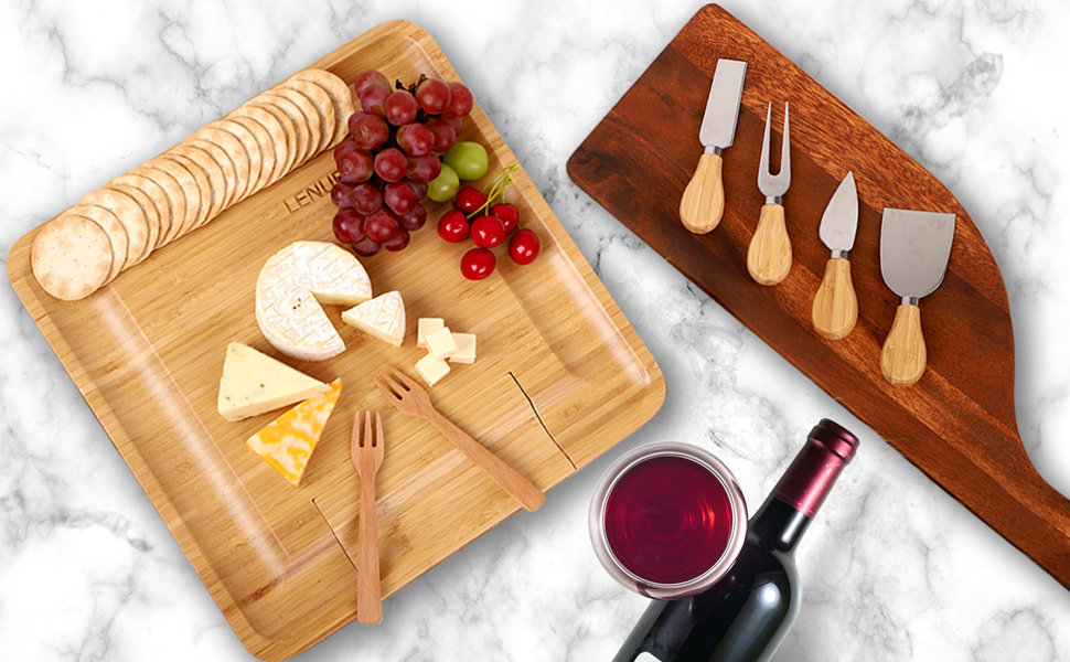 A photo of our wood cheese cutting board set