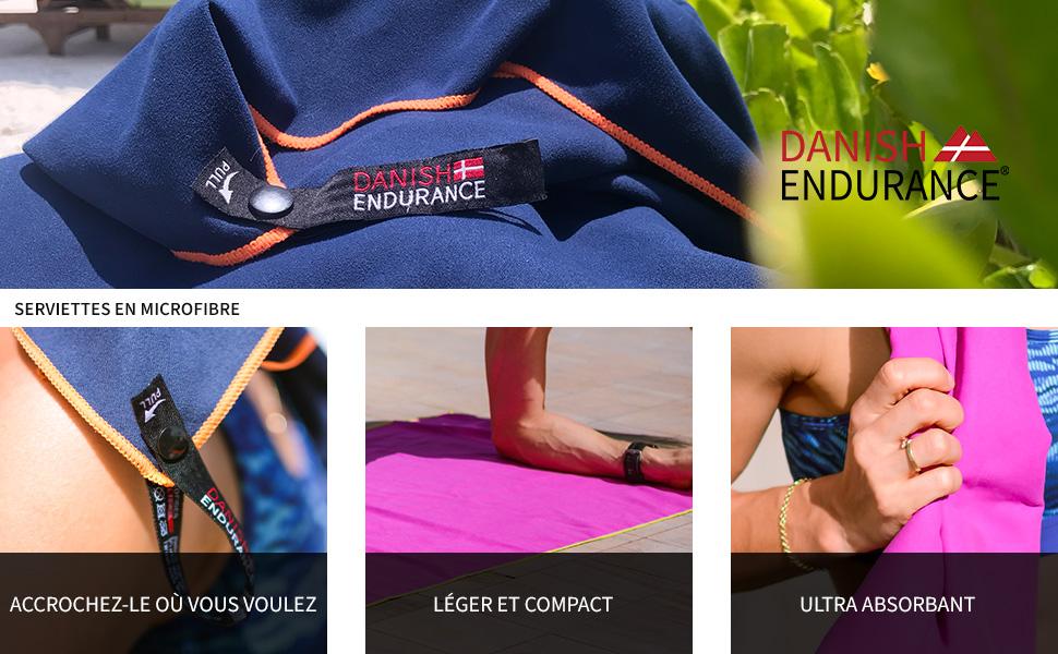 Hyper L/ég/ères Yoga Sport Cheveux Plage Absorbantes Piscine Pilates Lot de 1 ou 3 Fitness Voyage Id/éales pour Gym DANISH ENDURANCE Serviettes en Microfibre Camping