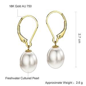 18k gold pearl earrings ~ Pearl jewelry ~ Gold pearl drops ~ 750 yellow gold ~ 18k pearl dangles ~ 18k chic earrings ~ Long pearl earrings