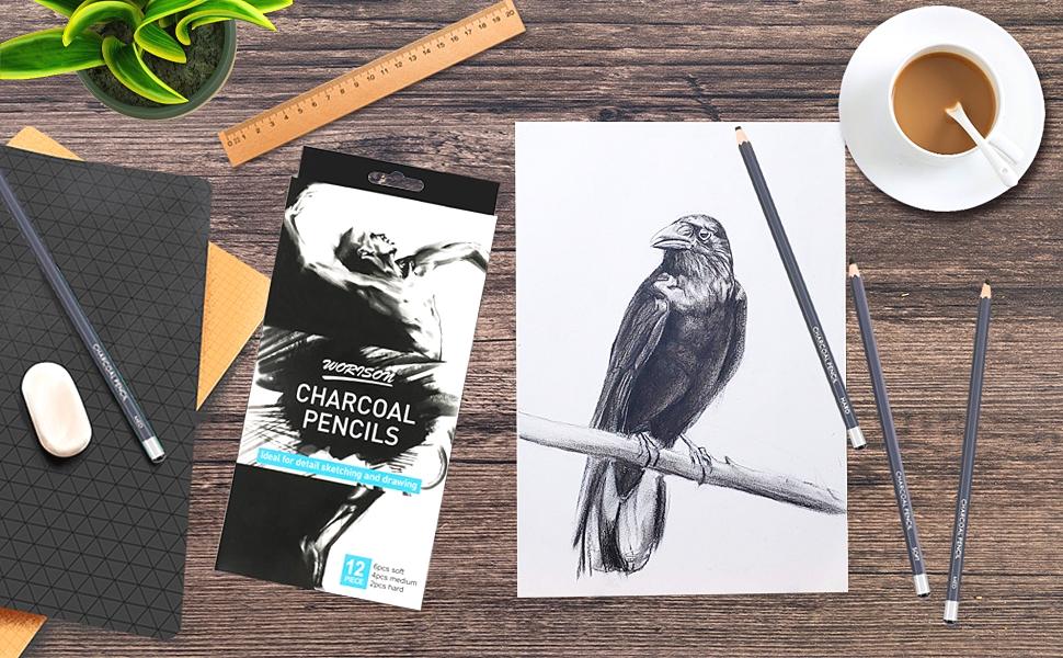 pencils, charcoal pencils, art drawing pencils set, tracing pencils, soft charcoal pencils