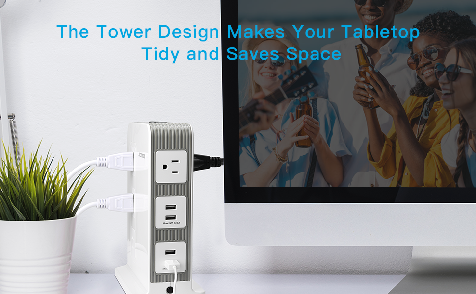 USB Surge Protector Power Strip Tower
