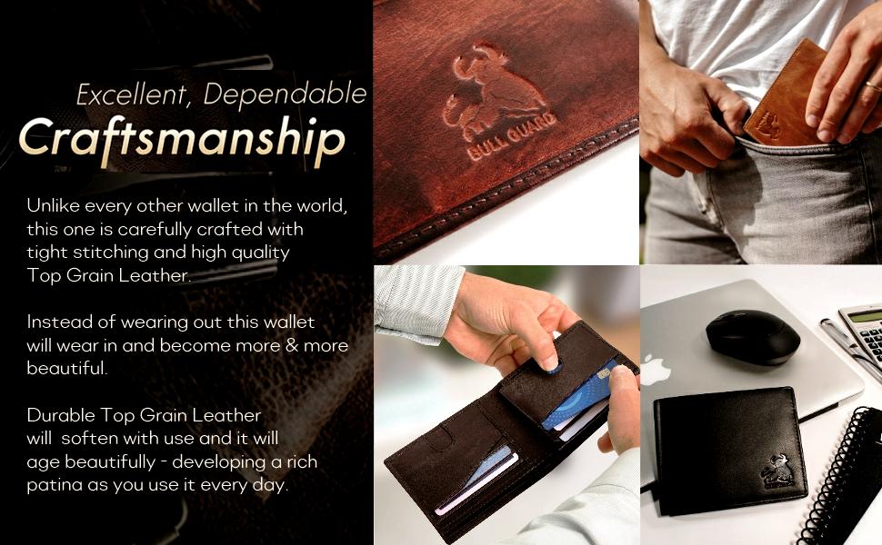mens rfid blocking trifold wallet soft genuine leather id secret pocket outdoor pant pocket slim