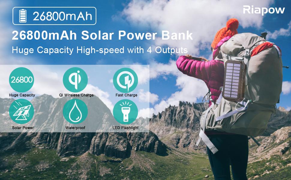 26800mAh Solar Power Bank