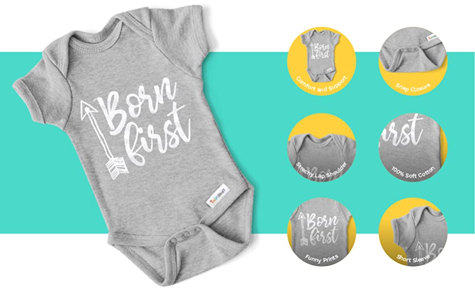 Twins Funny Personalised BabyToddler Vest BodysuitGrow Double Kisses Double Hugs Team Set Great Newborn Gift