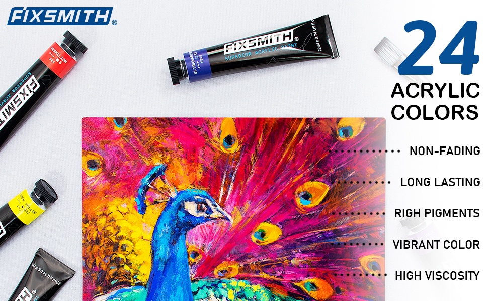 22ML / TUBES 24 colors acrylic paints premium quality