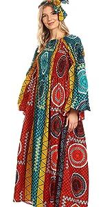 african ankara nice long sleeve smock elastic print floral off the shoulder bell sleeve casual bride