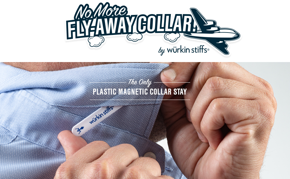 Plastic Shirt Stays that are magnetic being placed in a dress shirt