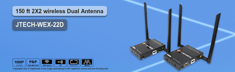 50m 2X2 wireless Dual Antenna J-Tech Digital
