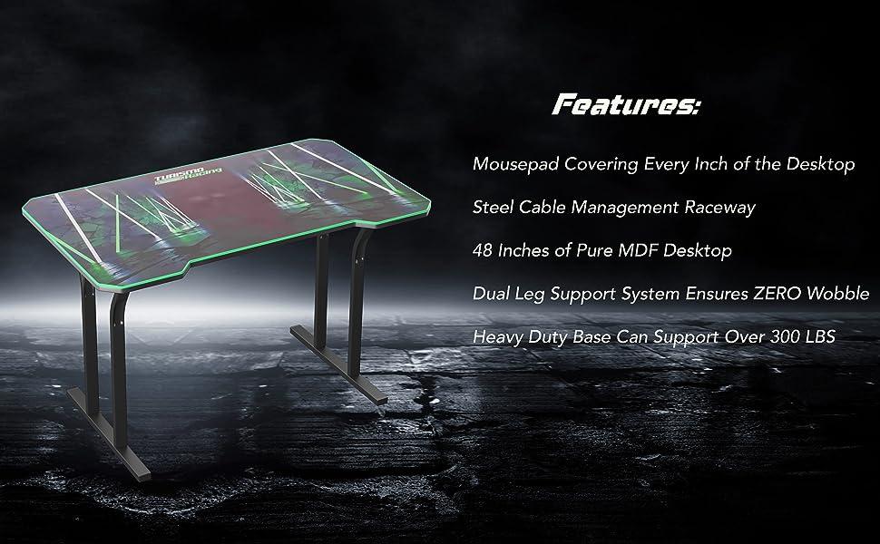 1, Pure Black Turismo Racing Gaming Desk No LED Parent